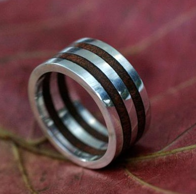 Men Unique Brazilian Sterling Silver Wood Ring
