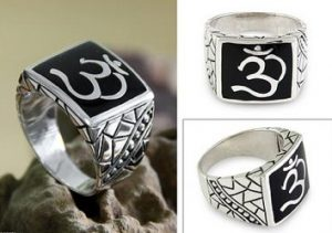 Spiritual Gift Ideas Sterling Silver Om Ring Men